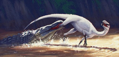 Eucoelophysis attacked by Redondasaurus by Apsaravis