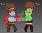 [Mistakes AU] Frisk V1 and Chara V1 (doodle) by FuyonaSoul