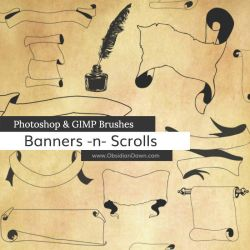 Banners n Scrolls Photoshop and GIMP Brushes by redheadstock