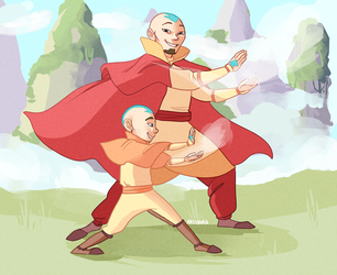 Aang and Tenzin by arshana