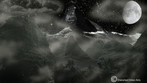 Starry Mountain Night by DistortedOrion