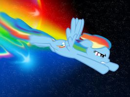 Rainbow Dash Through Space w/ a sonic rainboom by RainbowDashRocks101