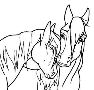 Sad Horse Couple lineart by kokamo77