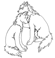 Free Wolf Mate Lineart by Najawarie