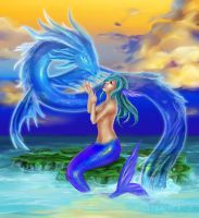 Mermaid and the Water Spirit by Morigalaxy