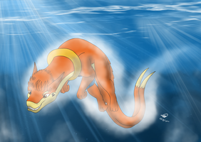 Wayne the Dragonbuizel Swimming by Threehorn