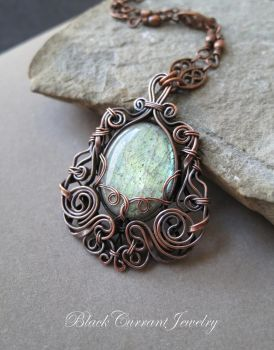 Light-Blue Ice - Labradorite and Copper Pendant by blackcurrantjewelry