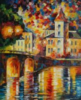 Spanish town by Leonid Afremov by Leonidafremov