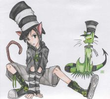 mad hatter and a cat by manique