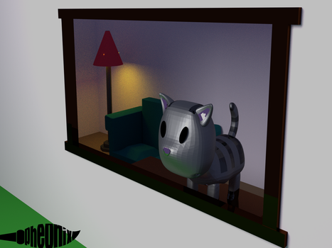 Pinky the cat [Low Poly] by WFpeonix