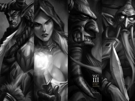 DOTA Stars wallpaper monotone by Artgerm