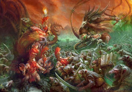 Clan Pestilens vs Fyreslayers by Manzanedo