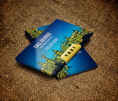 Taxi City at Night Business Card by es32