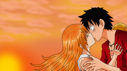 Unexpected kiss under the sunset by HayabusaSnake