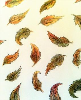Cute autumn leaf doodle by fluffelkuh