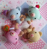 Candy Colored Amigurumi Bears by oddSpaceball