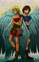 Michael and Lucifer by the-winter-girl