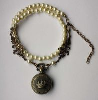 Pocket watch pearl necklace by Pinkabsinthe