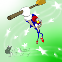 Commission: Sonic on a Broom by sonicspeed123