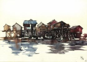 Floating village of Palafito in Cambodia by Marek-Bilinski