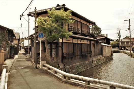 Narrow street and stream in Kyoto by Furuhashi335