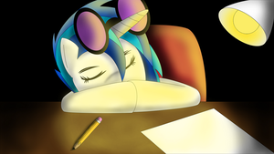 Sleeping Vinyl Scratch by PlayfulPossum