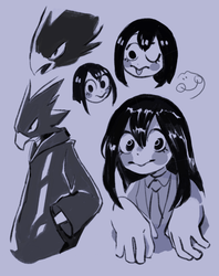 tokoyami + tsuyu by knightic