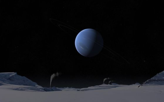 Neptune from Triton by Alpha-Element