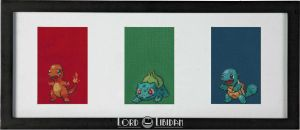 Pokemon Starter Triptych Cross Stitch by LordLibidan