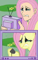 Fluttershy watching Fluttercry by glue123