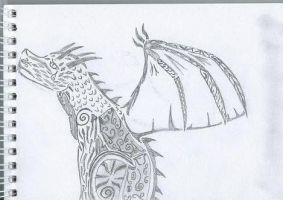 Sad Tribal Dragon by Sexy-Slender-Dragon