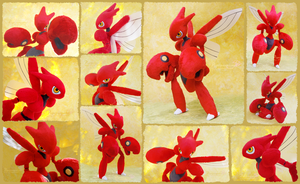 Scizor - handmade posable plush