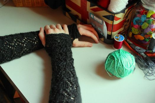 Eyelet Diamond Fingerless Gloves by ThePeculiarMissE