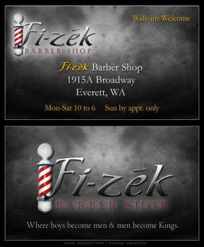 Fi-zek Barber Shop - Business Card by Demientieff