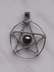 Wire wrapping pendant 10: Pentacle by ShadeJewerly