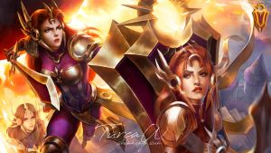 Wallpaper Leona - League of Legends by MagicAmber-Ink