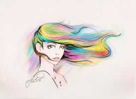 colorful hair in the wind - SilverBook001 by vkonzack