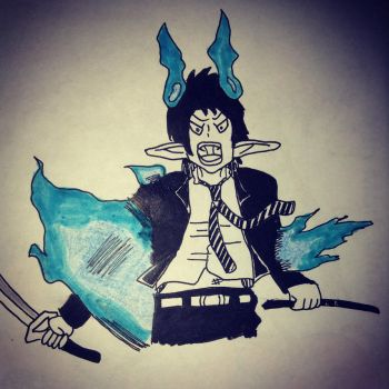 Drawing Of Rin Okumura by MegaManofHonor