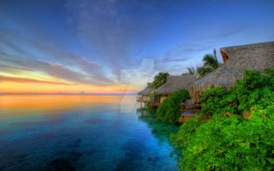Sunset over Moorea by keyser-soze