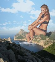 Nina Agdal lounging on the cliffs by Natkatsz
