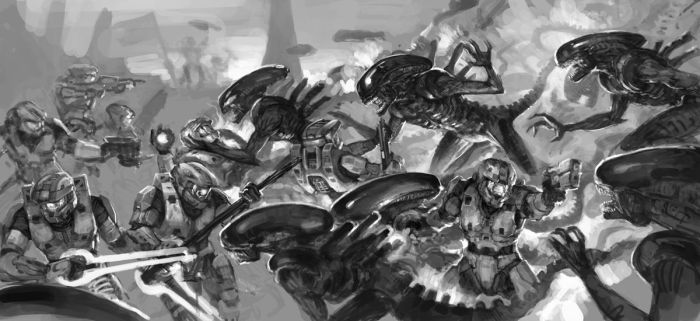 :Aliens vs Halo 2010: WIP by martinhoulden