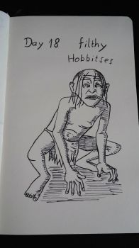 Inktober Day 18 Filthy Hobbitses by KenjiPuppetmaster