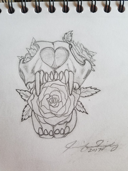 Sketch Skull Roses by JShipArts
