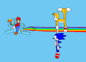 Mario and Rainbow Dash VS Sonic and Tails by Leafeon14