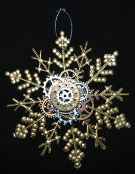 Gold Steampunk Snowflake Christmas Ornament by MarilynFaye