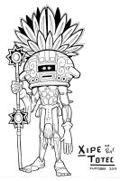 Inktober 26 XIPE TOTEC by FlintofMother3