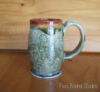 Hand Thrown Soot Sprites Themed Ceramic Mug by pixelboundstudios