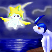 Absol greets Jirachi by PipeDreamNo20