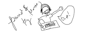 A quick pewdiepie drawing by maria by LittleBadKitty123