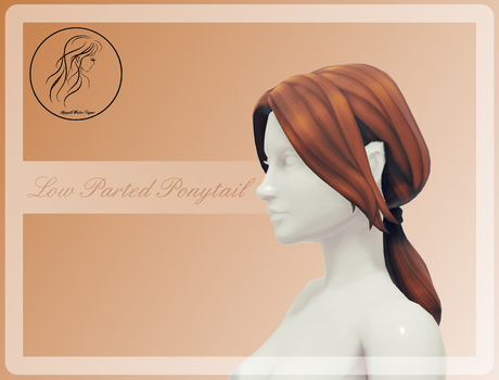 [MMD] Low Parted Ponytail (+DL) by AppleWaterSugar